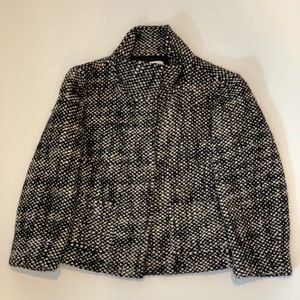 LOFT Cropped Black and White Plaid Wool Jacket